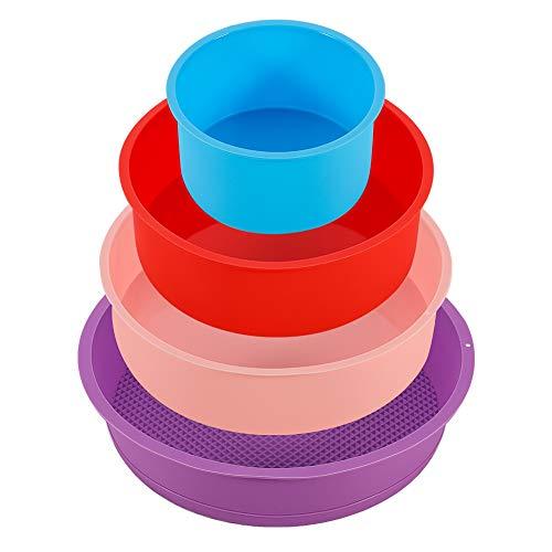 Phoetya 4 Stück Silikon-Kuchenformen, Antihaft- und Schnellwechsel-Silikon-Backformen Dosen Runde runde Kuchenform-Set zur Herstellung von DIY-Schokoladenkuchen, Brot 4 Farben (4,1