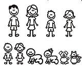 ZERTRAN Coche Estilo Pegatina Decoración del Coche Etiqueta engomada del Coche DIY para Familia (Negro, Blanco, Diez Estilos)