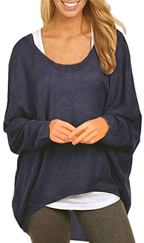 UGET Women's Sweater Casual Oversized Baggy Off-Shoulder Shirts Batwing Sleeve Pullover Shirts Tops Asia M Navy Blue