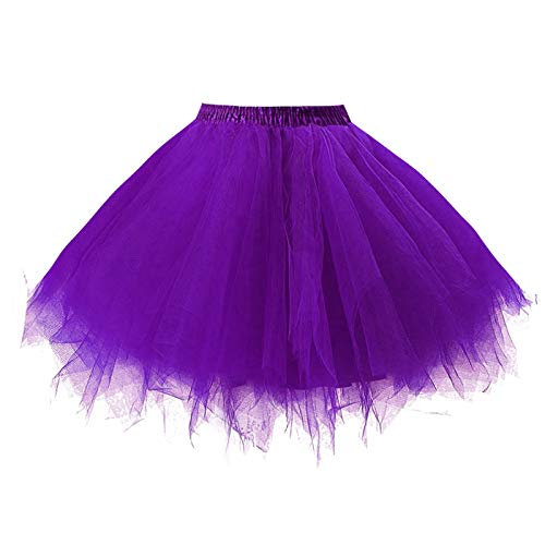 Girstunm Women's 1950s Vintage Petticoats Bubble Tutu Dance Half Slip Skirt Purple-S/M