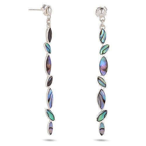 Aden's Jewels – Pendientes colgantes de nácar abulón y plata maciza para mujer