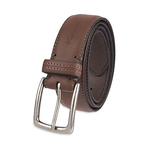 Columbia Men's Casual Leather Belt -Trinity Style for Jeans Khakis Dress Leather Strap Silver Prong Buckle Belt,Brown,54