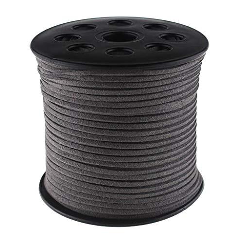 oshhni 100 Yardas de Cordón de Gamuza de 3 Mm Que Imita La Cuerda de Cuero para Boda - Gris Oscuro, Individual
