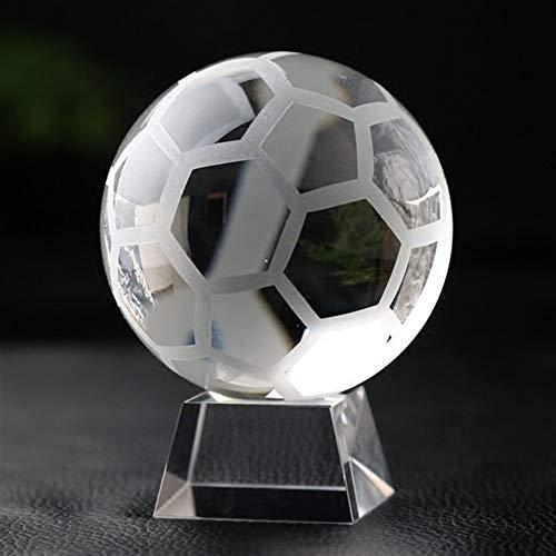 ACEACE Crystal Ball Glass Erde Modell Kugel Basketball Fußball Miniatur-Craft Hauptdekoration Zubehör Ornament Globe (Color : Football, Size : 70mm Ball with Base)