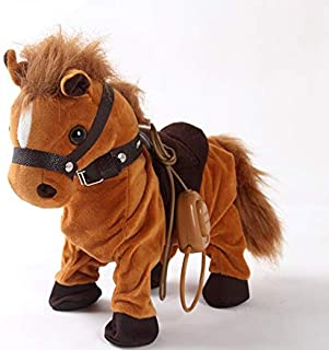 Haktoys Remote Controlled, Dancing, Singing and Walking Pony Pet   Wired Walk Along Interactive Brown Horse Musical Toy with 30″ Leash   7 Different Songs, Realistic Design and Sounds