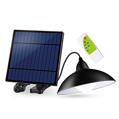 OurLeeme Luce solare esterna, 12 LED Luci solari da esterni retro impermeabile lampada a sospensione con paralume LED lampadina solare con 3 m cavo telecomando per giardino cortile
