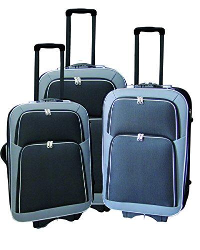 Kofferset 3tlg Eva 600D Polyester 2 Rundum Reißverschluss 2 Fronttaschen, Farben Koffer:grau/schwarz