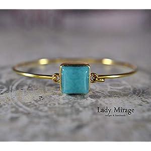18K Vergoldeter quadratischer Jade Armreif Messing Blau Edelstein Romantisch Tolle Geschenkidee Muttertag Geschenk für…