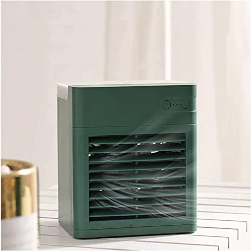 Acondicionador de Aire USB Recargable y silencioso de AC Mini Aire Acondicionado portátil con luz LED, Adecuada para el hogar, la Oficina y la habitación (Verde) Frio (Color : Green)