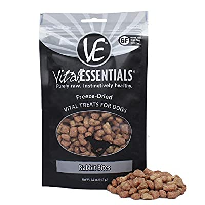 Vital Essentials Freeze-Dried Rabbit Bites Grain Free Limited Ingredient Dog Treats, 2.0 Ounce Bag
