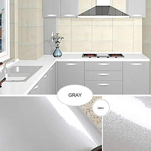 Oude meubels muurstickers koelkast deurframe stickers keukenkast waterdichte film zelfklevend oliebestendig behang, grijs, 40 cm x 4 m
