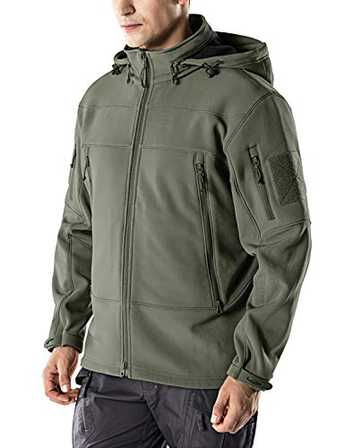 CQR Men's Tactical Softshell Detachable Hoodie Hiking Hunting EDC Lightweight Fleece Coat Jacket, Packable Hood(hok802) - Olive, X-Large