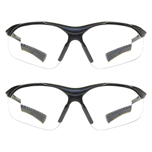 proSPORT Full Lens Reader Safety Glasses 2 Pairs Magnifier Reading Power +2.00 Clear Lens Industrial Wraparound Not Bifocal