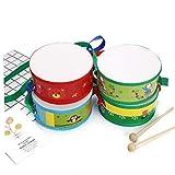 Instrumento Musical del Tambor De Madera del Golpe del Tambor De Trampa del Juguete del Sonido con Papel De Plástico para Bebé Kid Principiante 15cm (Color Azar)