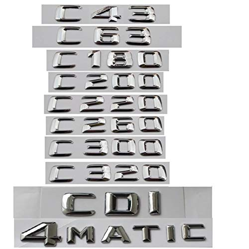 Generies Brands for Mercedes Benz C Class C63 C43 C55 AMG C180 C200 C220 C300 C320 C350 4MATIC CDI Trunk Emblem Badge Chrome Letters Emblems (C180,3D Shiny Silver)