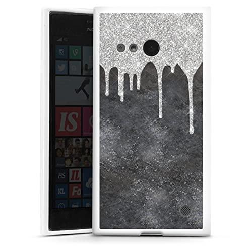 DeinDesign Silikon Hülle kompatibel mit Nokia Lumia 730 Hülle weiß Handyhülle Glitzer Erscheinungsbild Silber Farbverlauf