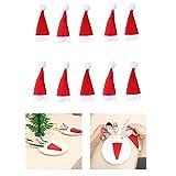 ZOUMOOL Juego de Navidad Cubertería Vajilla Plateado Portaplatos Tenedores Vajilla Bolsas Navidad Fiesta Decoración para Hogar Restaurante (1/5/10PC), Rojo, 10PC