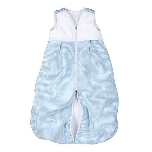 wellyou, Kinder-Baby-Schlafsack, mit Frottee gefüttert, hellblau-weiß Vichykaro, für Mädchen und Jungen, Größe 74-98