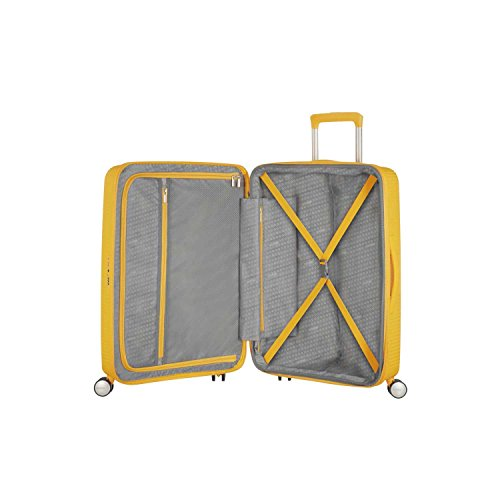 American Tourister Curio Hardside Luggage with Spinner Wheels, Golden Yellow, Checked-Large 29-Inch