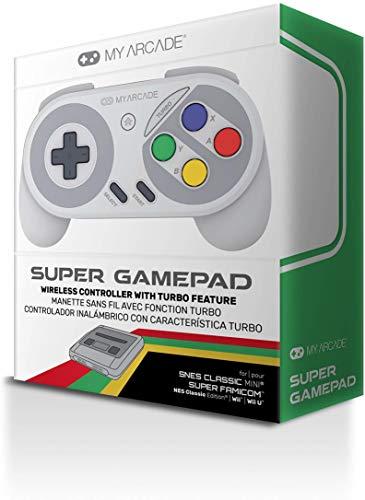 My Arcade - Super Gamepad Mando Inalámbrico Con Función Turbo Para Snes Classic Mini, Nes Classic, Wii Y Wiiu (Super Nintendo)