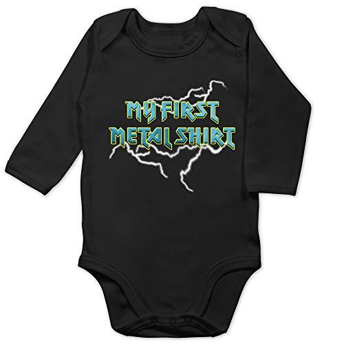 Sprüche Baby - My First Metal Shirt mit Blitzen blau - 12/18 Monate - Schwarz - Fun - BZ30 - Baby Body Langarm