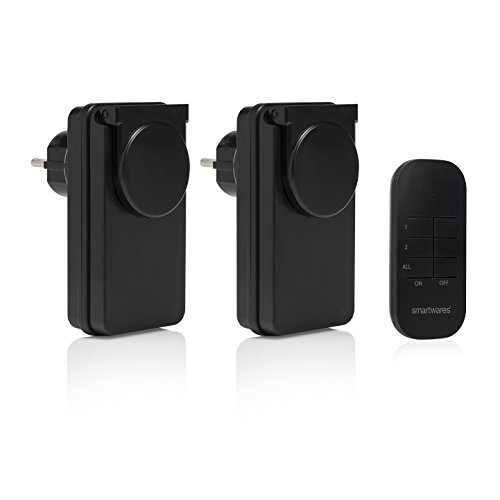 Smartwares SH4-99650 Außenschalter Basic Funk Steckdosen-Set, 230 V, Schwarz