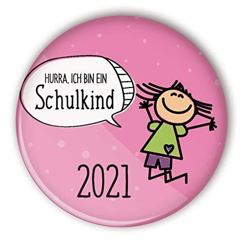 stylebutton® Button Pin Geschenk zum Schulanfang/Einschulung 2021 für Schulkinder 56 mm (#5 Hurra springendes Mädchen rosa)