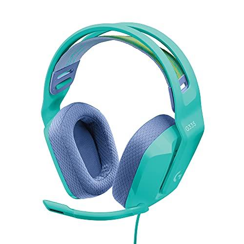 Logitech G335 Kabelgebundenes Gaming-Headset, Flip-to-Mute-Mikrofon, 3,5 mm Audioanschluss, Memory-Schaum-Ohrpolster, Leicht, Kompatibel mit PC, PlayStation, Xbox, Nintendo Switch - Grün