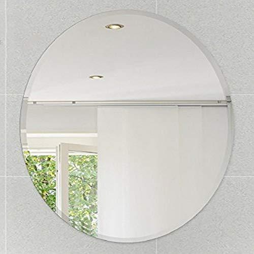 "Fab Glass and Mirror 24"" L x 36"" W Oval Beveled Polish Hooks Frameless Wall Mirror, 24"" x 36"", White"