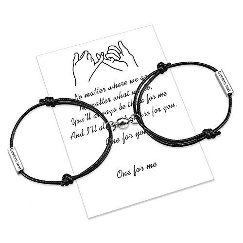 Personalizar la atracción de cuerda trenzada 2 pulseras con campanas magnéticas 4 lados grabado perfecto regalo de joyería para pareja, familia, hermanas, mejores amigos (2pcs Black)