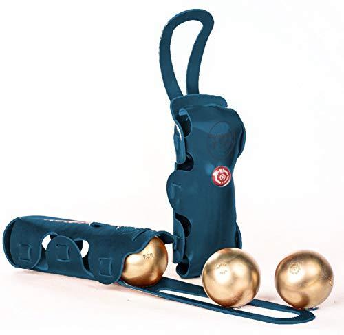 La Bouclée, sacoche rigide en cuir, avec poignée, coloris Petrolio
