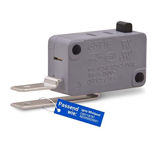 Microinterruptor de repuesto para Ignis Whirlpool C00118781 482000029051, 250 V, 16 A, interruptor de cambio con palanca 2 Faston 6,3 mm conector