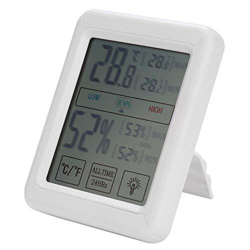 Fdit1 multifunctionele digitale thermometer, hygrometer, binnentemperatuurweergave, touchscreen-achtergrondverlichting voor kantoor en thuis, ruimtecomfort