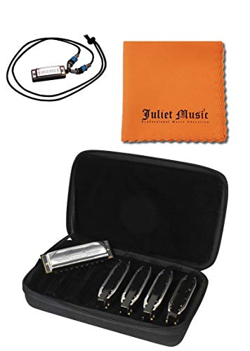 Hohner Special 20s SPC Harmonica 5-Pack- Keys of G, A, C, D, E Bundle with Juliet Music Polish Cloth and Hohner N38 Mini Harmonica