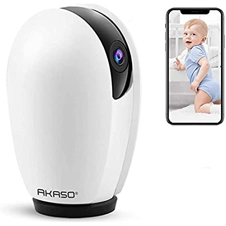 AKASO WiFi Camera Pet Camera, Home Security Camera Work with Alexa, Google Home and Fire TV, Indoor Surveillance Dog Camera, Baby Monitor, 2-Way Audio, Remote Access, Motion Detect, Cloud Storage