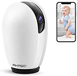 Wireless Security Camera 1080P HD - AKASO Wireless Camera,Work with Alexa, Google Home and Fire TV,WiFi Surveillance IP Camera,Baby Monitor,Two-Way Audio,Remote Access,Motion Detect,Cloud Storage(P30)