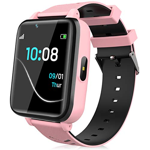 Kids Smartwatch for Boys Girls – Kids Smart Watch Phone Touch Screen with Calls Games Alarm Music Player Camera SOS Calculator Calendar Children Toys Birthday Gifts for 4-12 Years Students (Pink)