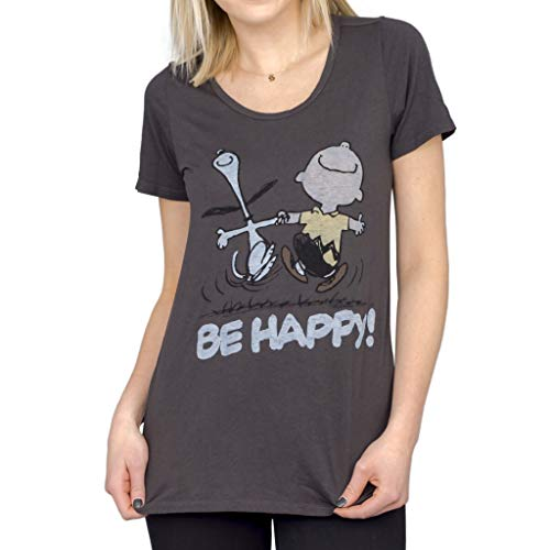 Junk Food Peanuts Be Happy Juniors Blackwash T-Shirt (Adult Small)
