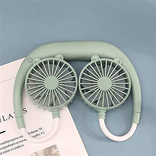 Ventilador de cuello de cabeza de doble viento de color de caramelo de macron, ventilador de cuello colgante portátil USB con oreja, ventilador personal libre de mano ventilador de refrigerador portát