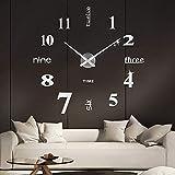 SOLEDI Reloj de Pared 3D, DIY Reloj de Etiqueta de Pared Decoración Ideal para la Casa Oficina Hotel Restaurante, llenado Pared Vacía 3D Reloj (Plata)