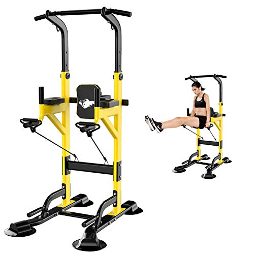 Power Tower Multi Workout Pull Up Chin Up Dip Station Fitness Equipment, Power Tower,Multi-Function Home Gym Exercise Equipment Chin Up Bar Corepull Push for Strong Muscle,Yellow,82 * 100 * 240cm