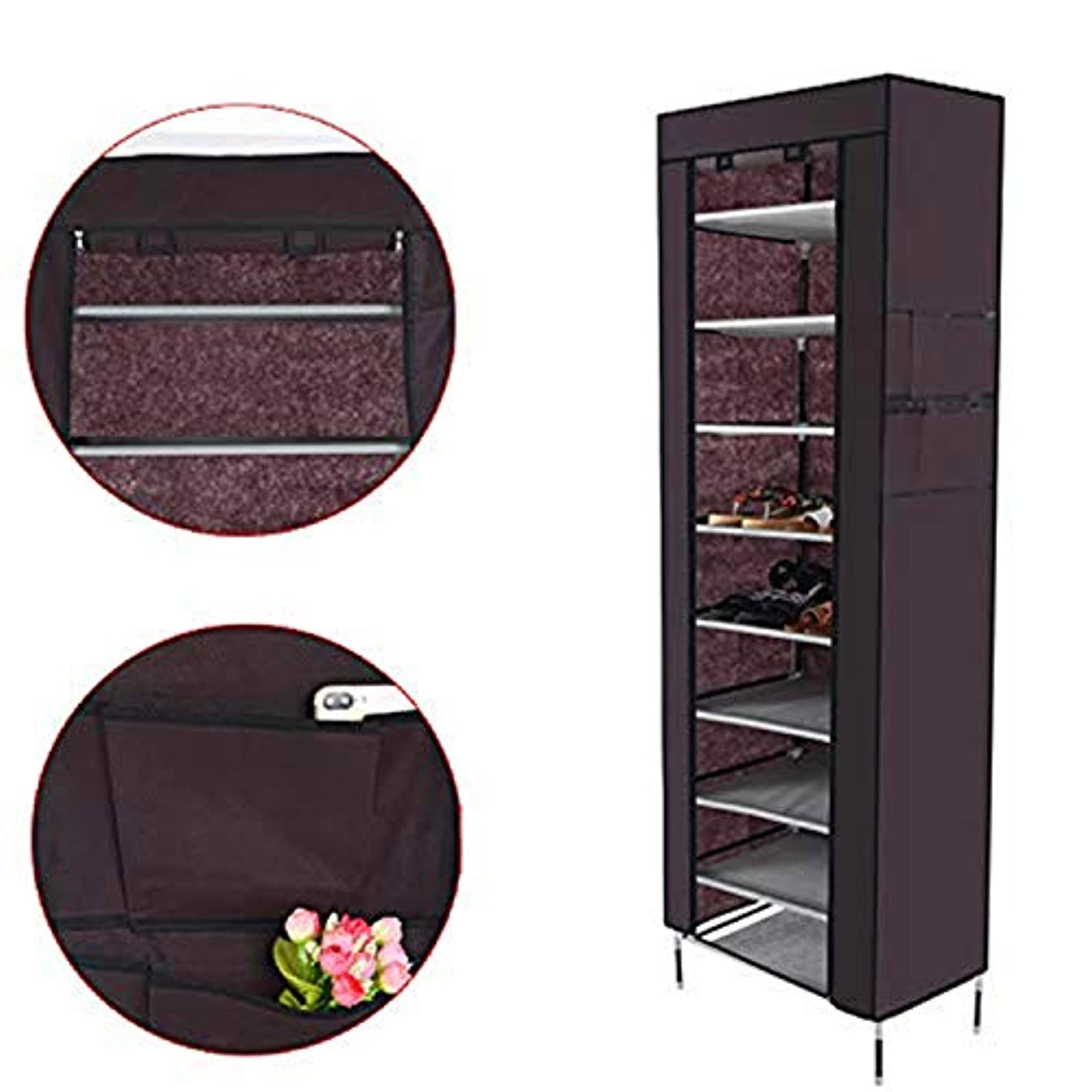 10 Tiers Shoe Rack Shelf Closet with Dustproof Cover Non-Woven Fabric Shoe Tower Closet Boot Storage Cabinet Organizer (Brown)