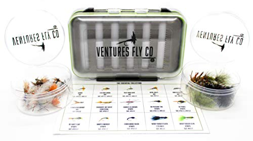 Ventures Fly Co. | 40 Premium Hand Tied Fly Fishing Flies Assortment | Fly Box Included | Dry, Wet, Nymphs, Streamers, Wooly Buggers, Terrestrials | Trout, Bass Lure Set, Kit