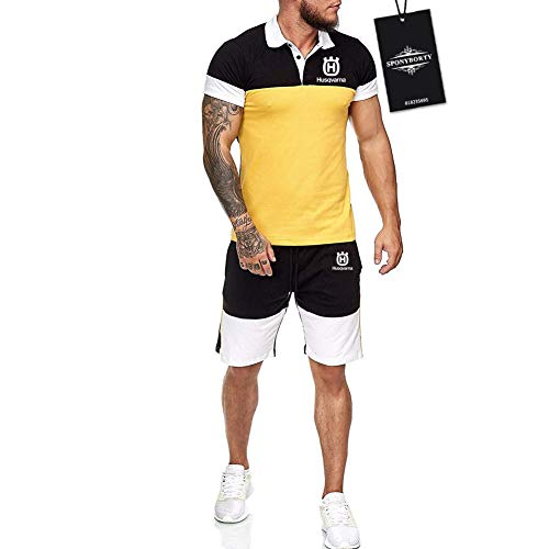Hickeyy Hombres Solapa Camiseta Bermudas Chandal Conjunto por Hus.q-varna.s Algodón Dos Piezas Corto Manga Tee Pantalones Ropa Deportiva Sudaderas/Amarillo/XXL