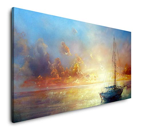 Paul Sinus Art Malerei mit Segelboot 120x 60cm Panorama Leinwand Bild XXL Format Wandbilder Wohnzimmer Wohnung Deko Kunstdrucke