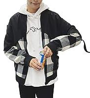 Bestmoodメンズ ジャケット ゆったり チェック柄 切り替え アウター 薄手 春服 韓国ファッション ジャンパー ブルゾン 原宿系(W黒)