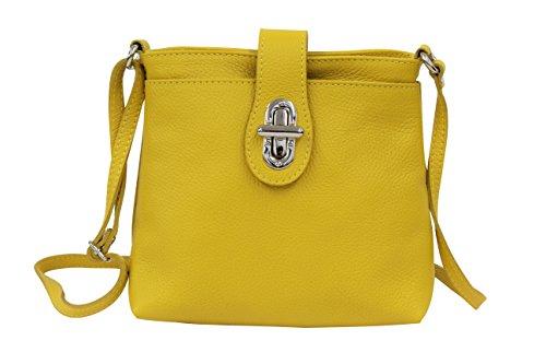 AMBRA Moda Damen echt Ledertasche Handtasche Schultertasche Umhängtasche Citybag Girl Crossover GL007 (Gelb)