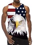Goodstoworld Mens Tank Top Guys3D Printed Shirts Patriotic USA Flag Animal Tees Holiday Sleeveless Cool Running Novelty July Fourth T Shirts L