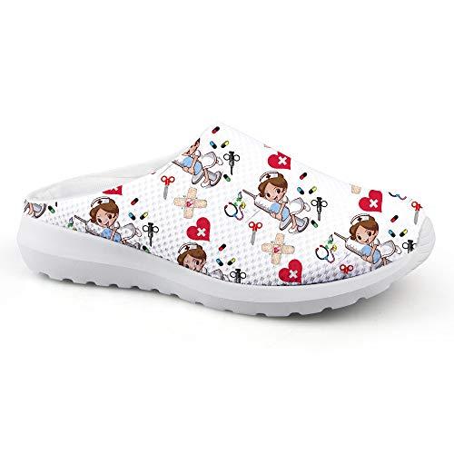 UOIMAG Divertida Zapatilla de Enfermera Regalo Enfermera Zapatos sin Cordones Sandalias de Mujer Zapatos Casuales para Caminar 39EU