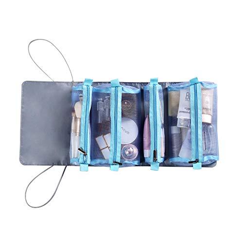 Chen0-super Bolsa de Aseo Colgante 4 en 1 para Viajar, Bolsas organizadoras de Maquillaje enrolladas para Mujeres y niñas, Bolsa de Almacenamiento de cosméticos con Cuatro Bolsas de Mano extraíbles